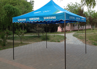Blue Steel Canopy 3x3 Pop Up Gazebo Hand Printing For Beach Advertising Trade Show