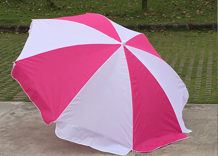 Foldable Pink And White Outdoor Sun Umbrellas Nylon Material With Steel Frame